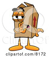 Clipart Picture Of A Cardboard Box Mascot Cartoon Character Whispering And Gossiping by Toons4Biz
