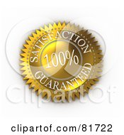 Royalty Free RF Clipart Illustration Of A Gold 100 Percent Satisfaction Guarantee Label Seal