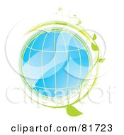 Royalty Free RF Clipart Illustration Of A Shiny Blue Globe With Grid Lines And A Green Vine