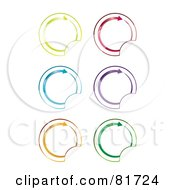 Royalty Free RF Clipart Illustration Of A Digital Collage Of Circular Colorful Arrow Peeling Stickers by MilsiArt