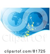Royalty Free RF Clipart Illustration Of A White Sparkly Wave With A Green Vine Over A Blue Map