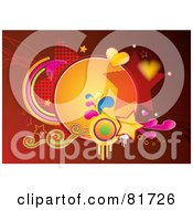 Royalty Free RF Clipart Illustration Of A Funky Red Background With Grunge Swirls Stars And Hearts by MilsiArt