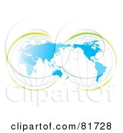 Royalty Free RF Clipart Illustration Of A Double Globe Blue Map With Green Accents by MilsiArt