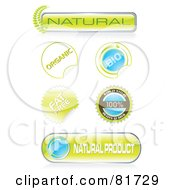 Royalty Free RF Clipart Illustration Of A Digital Collage Of Bio Stickers Seals And Icons by MilsiArt
