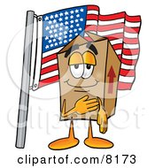 Clipart Picture Of A Cardboard Box Mascot Cartoon Character Pledging Allegiance To An American Flag by Toons4Biz