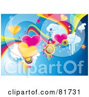 Royalty Free RF Clipart Illustration Of A Funky Valentine Background Of Hearts Rainbows Clouds And Stars On Blue by MilsiArt
