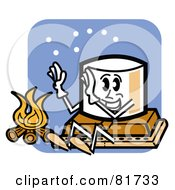 Royalty Free RF Clipart Illustration Of A Happy Marshmallow Sitting On Top Of Chocolate And A Graham Cracker Warming Up By A Fire by Andy Nortnik #COLLC81733-0031