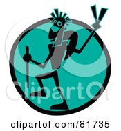 Royalty Free RF Clipart Illustration Of A Backpacker Dude Gesturing The Peace Sign Over A Blue Circle