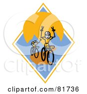 Royalty Free RF Clipart Illustration Of Stick People Bikers One With His Hands Off The Bars On A Blue And Orange Mountain Diamond