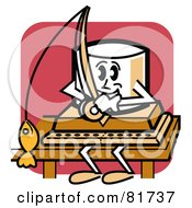 Royalty Free RF Clipart Illustration Of A Sporty Marshmallow Sitting On A Dock And Fishing by Andy Nortnik