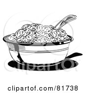 Royalty Free RF Clipart Illustration Of A Black And White Bowl Of Cereal With A Spoon by Andy Nortnik