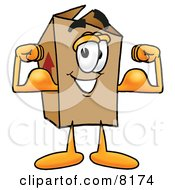 Clipart Picture Of A Cardboard Box Mascot Cartoon Character Flexing His Arm Muscles by Toons4Biz