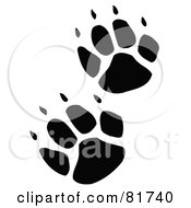 Royalty Free RF Clipart Illustration Of Black Wolf Footprint Tracks by Andy Nortnik