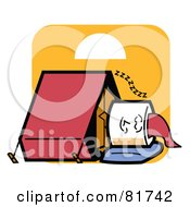 Royalty Free RF Clipart Illustration Of A Sleeping Marshmallow With Chocolate And A Tent by Andy Nortnik