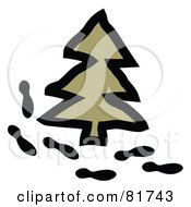 Royalty Free RF Clipart Illustration Of A Path Of Footprints Around An Evergreen Pine Tree