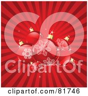 Royalty Free RF Clipart Illustration Of A Red Bursting Background With Shiny Christmas Balls With Snowflake Designs by Pushkin