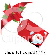Santa Gift Tag With A Poinsettia Bow And Ribbon On A White Background