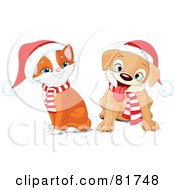 Royalty Free RF Clipart Illustration Of A Digital Collage Of A Christmas Puppy And Kitten Wearing Santa Hats