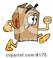Clipart Picture Of A Cardboard Box Mascot Cartoon Character Running