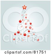 Royalty Free RF Clipart Illustration Of A Christmas Tree Of Red Stars Red Baubles And Swirls by Pushkin