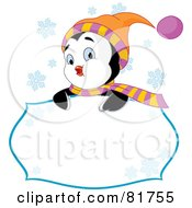 Royalty Free RF Clipart Illustration Of A Cute Winter Penguin Looking Over A Blank Sign With Snowflakes