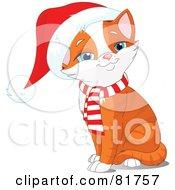 Royalty Free RF Clipart Illustration Of A Happy Sitting Orange Kitten Wearing A Santa Hat