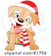 Royalty Free RF Clipart Illustration Of A Happy Sitting Christmas Puppy Wearing A Scarf And Santa Hat by Pushkin