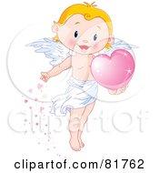 Cute Blond Boy Angel Scattering Pink Hearts
