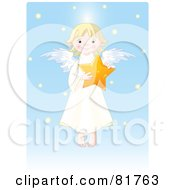 Royalty Free RF Clipart Illustration Of A Cute Blond Girl Angel Holding A Star In A Blue Snow Sky by Pushkin