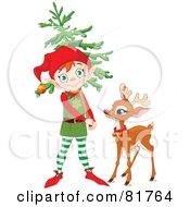 Royalty Free RF Clipart Illustration Of A Cute Christmas Elf Carrying A Tree And Standing By Rudolph by Pushkin