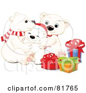 Royalty Free RF Clipart Illustration Of An Adorable Polar Bear Family Snuggling By Christmas Presents
