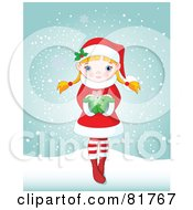 Royalty Free RF Clipart Illustration Of A Cute Blond Christmas Girl Holding A Snowflake And Standing In The Snow by Pushkin