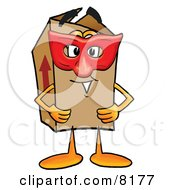 Clipart Picture Of A Cardboard Box Mascot Cartoon Character Wearing A Red Mask Over His Face by Toons4Biz