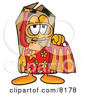 Clipart Picture Of A Cardboard Box Mascot Cartoon Character In Orange And Red Snorkel Gear