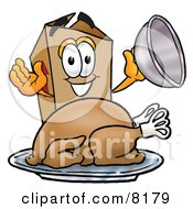 Clipart Picture Of A Cardboard Box Mascot Cartoon Character Serving A Thanksgiving Turkey On A Platter