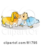 Royalty Free RF Clipart Illustration Of A Baby Boy In Blue Crawling Around With A Dog by Snowy