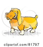 Royalty Free RF Clipart Illustration Of A Happy Golden Dog With A Stub Tail by Snowy