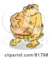 Fat Tattooed Man Rubbing His Belly And Holding A Sandwich