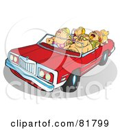 Royalty Free RF Clipart Illustration Of A Chubby Family Riding In A Convertible Car by Snowy