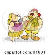 Royalty Free RF Clipart Illustration Of A Fat Brother And Sister Eating And Drinking Unhealthy Food by Snowy