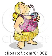 Royalty Free RF Clipart Illustration Of A Fat Girl In A Bathing Suit Sipping A Soda by Snowy