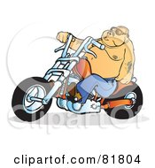 Fat Tattooed Biker Man On An Orange Motorcycle