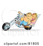 Chubby Biker Couple On An Orange Motorcycle