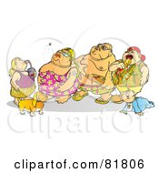 Royalty Free RF Clipart Illustration Of A Fat Family In Swimsuits Drinking And Eating by Snowy