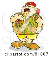 Royalty Free RF Clipart Illustration Of A Fat Boy Eating A Messy Hot Dog by Snowy