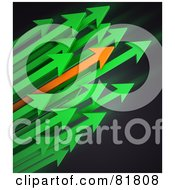 Royalty Free RF Clipart Illustration Of A Cluster Of Green And Orange Arrows Shooting To The Right by Mopic