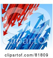 Royalty Free RF Clipart Illustration Of Clusters Of Blue And Red Arrows Shooting Down And Up