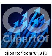 Royalty Free RF Clipart Illustration Of A Cluster Of Blue Arrows Shooting Diagonally Upwards To The Right