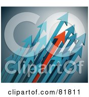 Royalty Free RF Clipart Illustration Of A Turquoise And Red Arrows Shooting Diagonally Upwards To The Right by Mopic