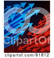 Royalty Free RF Clipart Illustration Of Clusters Of Blue And Red Arrows Shooting Left And Right by Mopic
